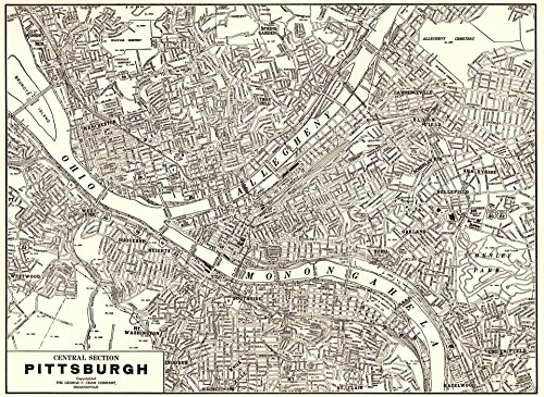 Original Antique Wall Map - 1939 Vintage Pittsburgh Map Original Antique Map of Pittsburgh Pennsylvania Not a Reprint Gallery Wall Art Office Decor #1131