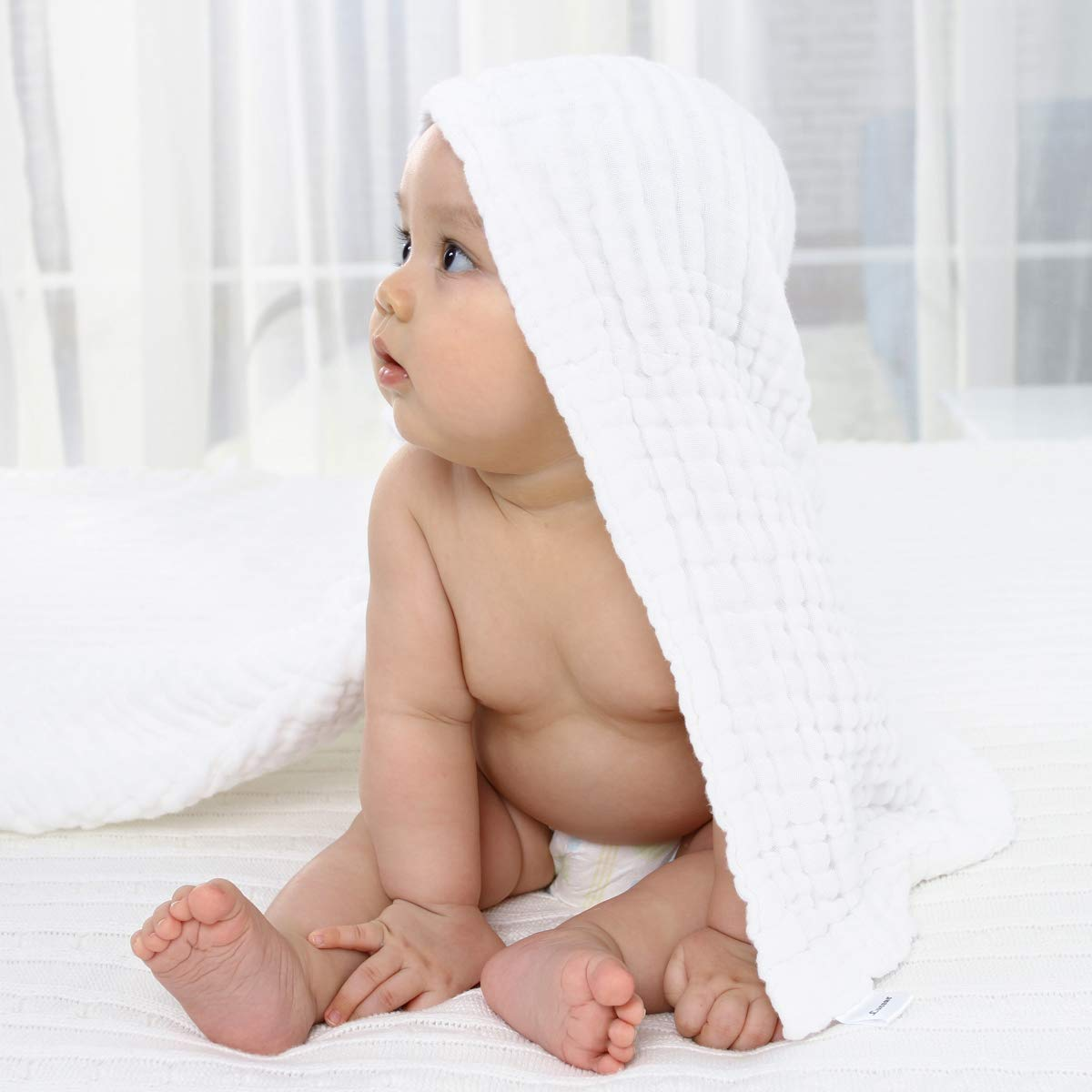 Lucear Muslin Cotton White Baby Bath Towels with Hood and Waistband Also for Baby Blanket