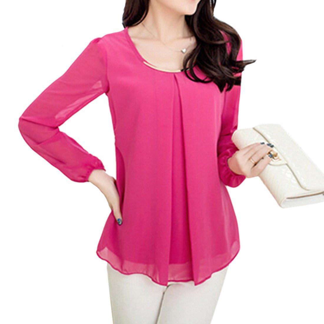 New Elegant Women's Loose Chiffon Tops Long Sleeve Shirt Casual Blouse WINSON