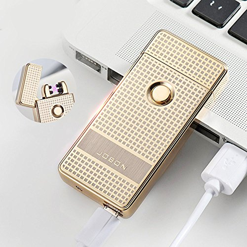 Jobon Dual ARC Plasma X Electronic One Second Fast Cigarette lighter ZB-316 High-End Windproof USB Rechargeable (Gold)
