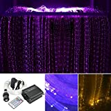 AKEPO 16W RGBW Fiber Optic Curtain Light Kit, Color Changing Waterfall Window Curtain Lights for Sensory Room and Home Decor with Flash Point Sparkle Fiber Cables 300pcs 9.8ft/3m 0.03in/0.75mm