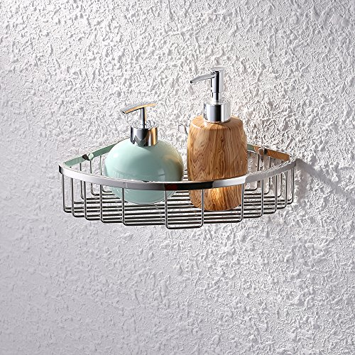 KES Bathroom Corner Triangular Tub and Shower Caddy Basket SUS304 Stainless Steel Wall Mount, Polished Finish, A2123A (Lotion Soap Triangle)