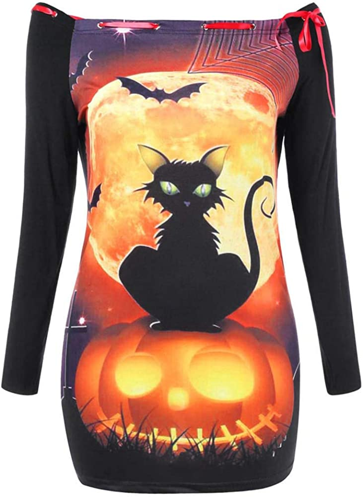 KaloryWee Women's Lace Long Sleeve Summer Casual T-Shirt Blouse Pumpkin Cat