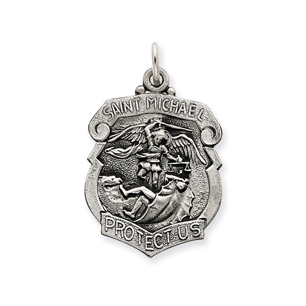 Sterling Silver St. Michael Badge Medal Quinn' s Gold QC3614
