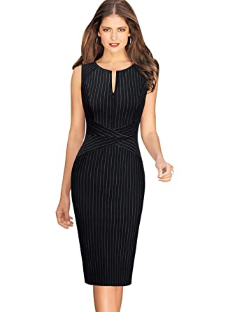 b3c4ee46e75 VFSHOW Womens Elegant Black and White Striped Slim Zipper up Work Business  Office Party Sheath Dress