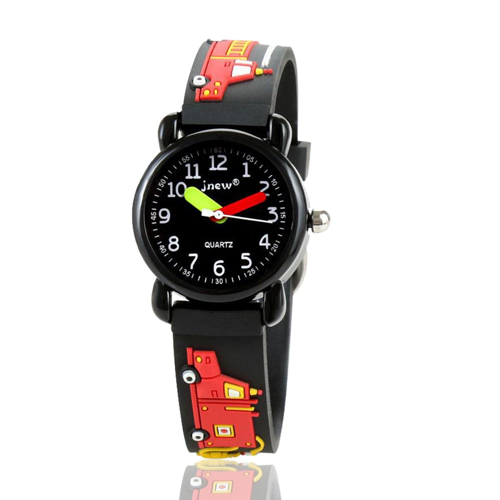 Bingostyle Kids Watches,3D Waterproof Cartoon Children Strap Watch Time Teacher Gifts for Boys Girls by (04-Black-FireEngine)