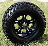 GOLF CART 12''X 7'' DARKSIDE ALUMINUM WHEELS & 23'' ALL TERRAIN TIRES-SET OF 4