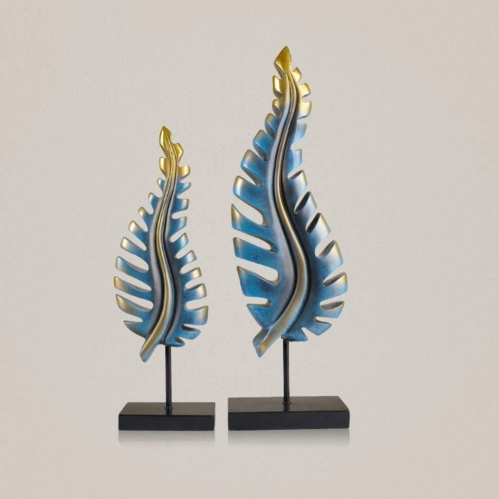 Decoration Leaf Ornaments, (Set of 2) Creative Resin Carving Decoration Living Room Bedroom Crafts Decoration Decoration (Color : Imitation Bronze)