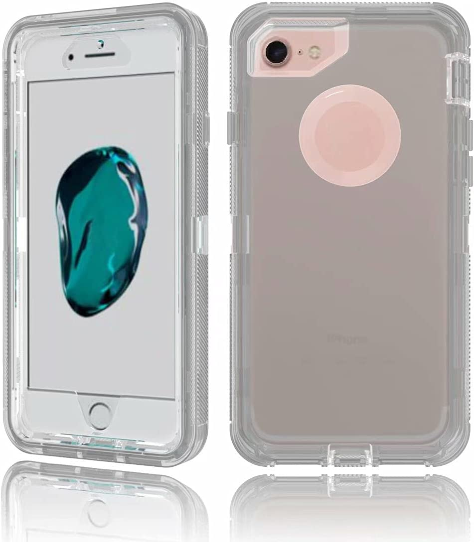 DESHENG Smartphone Protective Clips Suitable for iPhone 8 Plus Shiny Transparent Protective Case, Hard PC Case and Soft TPU Case, Shockproof Effect Phone Bag (Color : Gray)