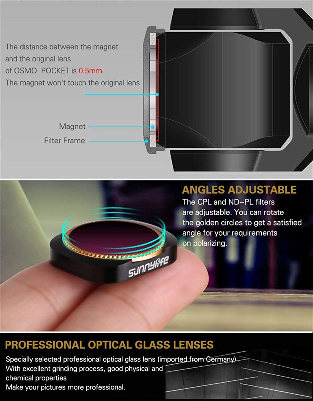 Amazon.com: 🐳Jonerytime🐳3PC CPL+ND8+ND16 Camera Lens Filters for DJI OSMO Pocket: Clothing