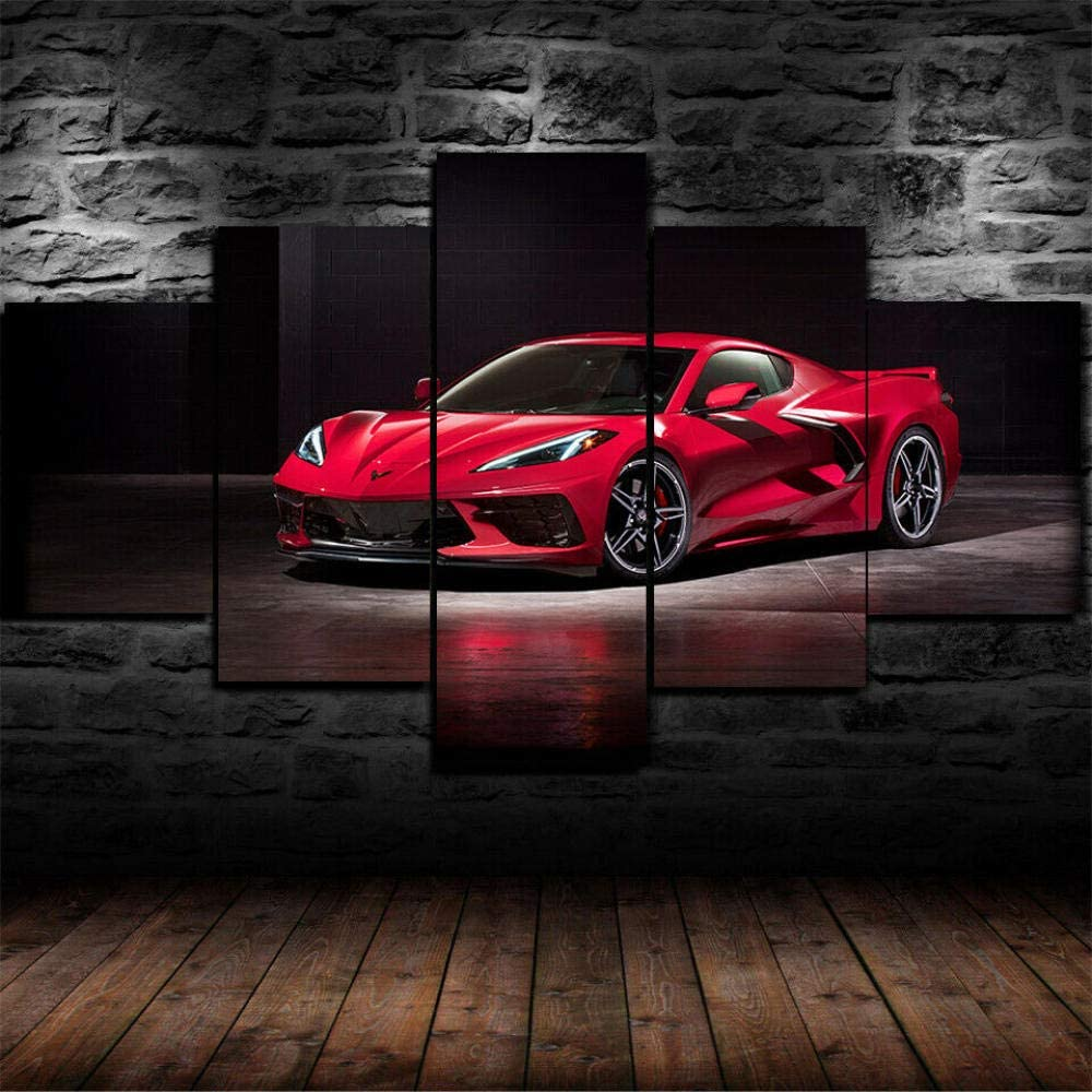 HJYR 5 Pieces Wall Art Framed Chevy Corvette Stingray C8 2020 Car Picture Canvas Prints Canvas Art,Modern Wall Decoration,Framed and Ready to Hang