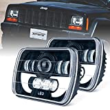 Xprite 5x7'' Led Headlight w/DRL 7100 Evolution CREE LED Square Headlights Conversion H6054 H5054 H6054LL 69822 6052 6053 Jeep Wrangler YJ Cherokee XJ Trucks 4X4 Offroad - 2PCs
