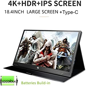 Ever Lustre 18.4 Inch USB Portable Monitor 4K IPS Gaming Monitor W/Type C Build-in Batteries for Laptop PS3 PS4 Xbox ONE Xbox 360 Switch