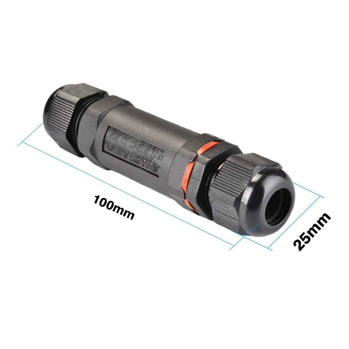 Negro, 2 polos, IP68, PVC Alcance del cable 5-13 mm Moligh doll 2 paquetes Caja de conexiones exterior//al aire libre impermeable Acoplador manguito del conector del cable