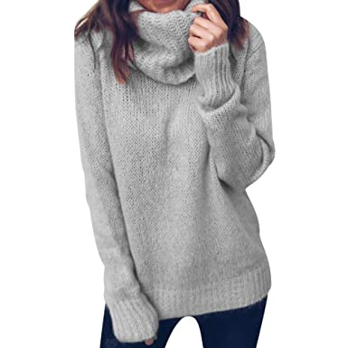 e732f991f74 Pull Maille Femme Oversize Tricot Pull Col Roulé Epais Grosse Maille Femme  Chandail Femme Large Pull