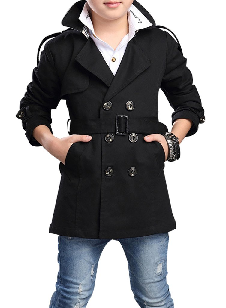 JiaYou Child Kid Boy Stylish Cotton Blend Long Sleeve Double Breasted Trench Coat(Black,Height 62.99''-66.93'' Inches)