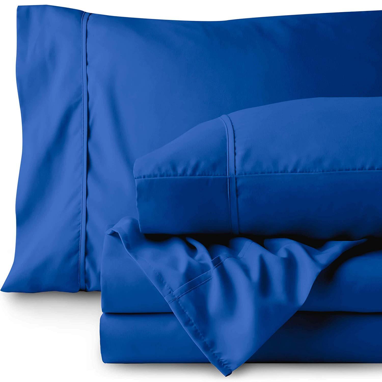 ベッドシーツセット 800スレッドカウント 100%コットン 4ピースシーツセット 無地シーツ 長繊維綿 15インチまでのマットレスに適合 ディープポケット ソフトコットンベッドシーツと枕カバー 高級寝具 ツイン ブルー STRENTH-AZ-109 B07S6G8L24 ミディアムブルー ツイン