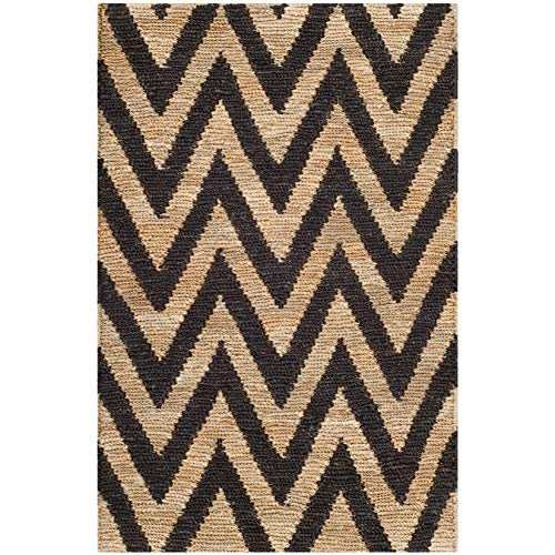 Safavieh Organica Collection ORG515A Hand-Knotted Black and Natural Wool Area Rug (2'6