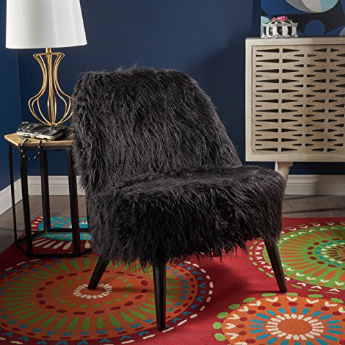 - Christopher Knight Home 302718 Soho Glam Shaggy Fur Accent Faux Sheepskin Chair, Black