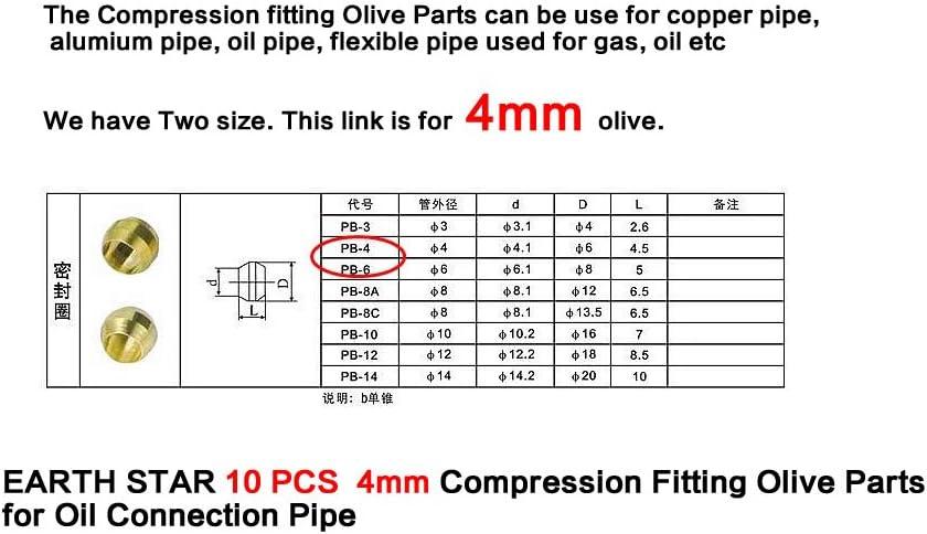 Terre /étoile 10/pcs 4/mm Raccord /à compression dOlive de pi/èces pour lhuile Tuyau de connexion
