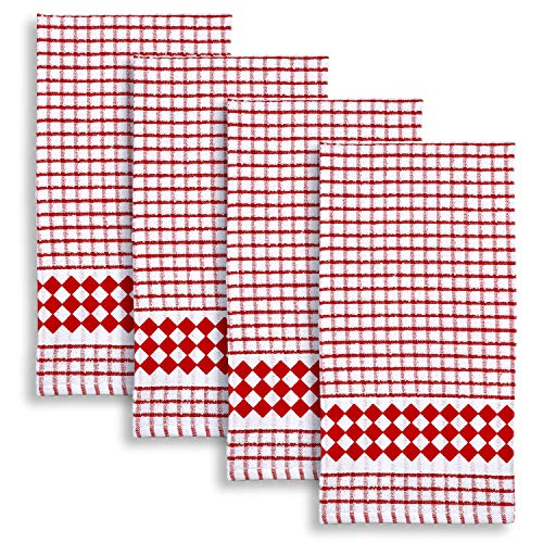 Cackleberry Home Diamond Border Windowpane Check Cotton Terrycloth Kitchen Towels, Set of 4 (Red) ()