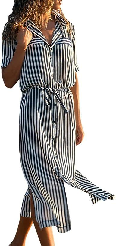 Poachers Vestidos Largos De Fiesta Mujer Para Bodas Manga Larg Vestidos Playa Mujer Tallas Grandes Camisa Larga Cintura Vestidos Mujer Fiesta Vestidos Mujer Talla Grande Rayas Verticales Amazon Es Ropa Y Accesorios