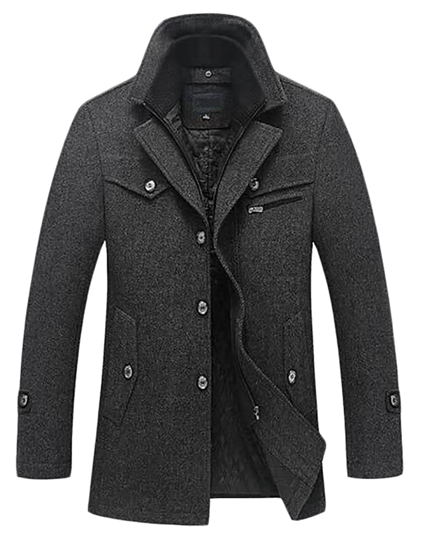 Joe Wenko JWK Mens Winter Heavyweight Single Breasted Thick Wool Blend Pea Coats