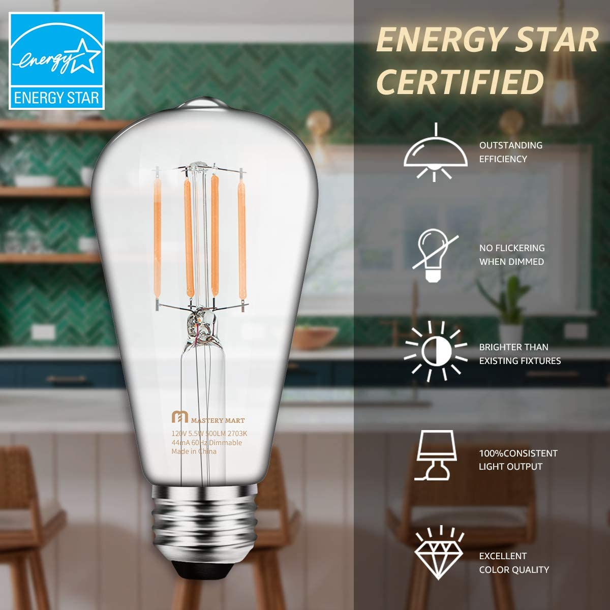 Dimmable 5.5W 60 Watt Equivalent UL and Energy Star 6 Pack Mastery Mart Vintage LED Light Bulb 500LM 5000K Daylight White E26 Decorative Filament Bulb Glass ST21 Antique Edison Style