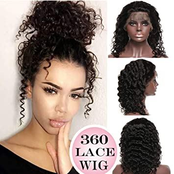 360 Lace Wigs Deep Wave Brazilian Human Hair Wig Curly 14 quot  360 Frontal  Lace with 07ef29aa04