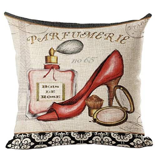 45*45cm Cotton Linen Cushion Pillowcase (High-heeled shoes) - 1