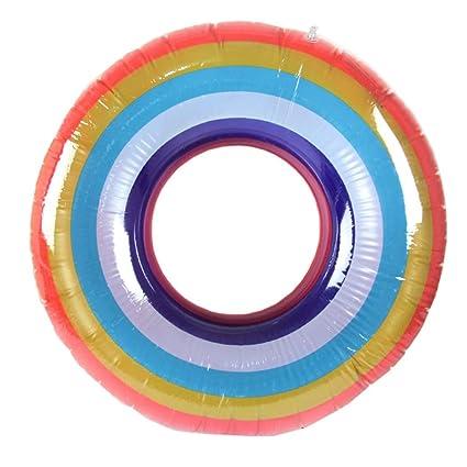 Artistic9 Anillo hinchable para piscina, flotador de piscina, arco iris, anillo de natación