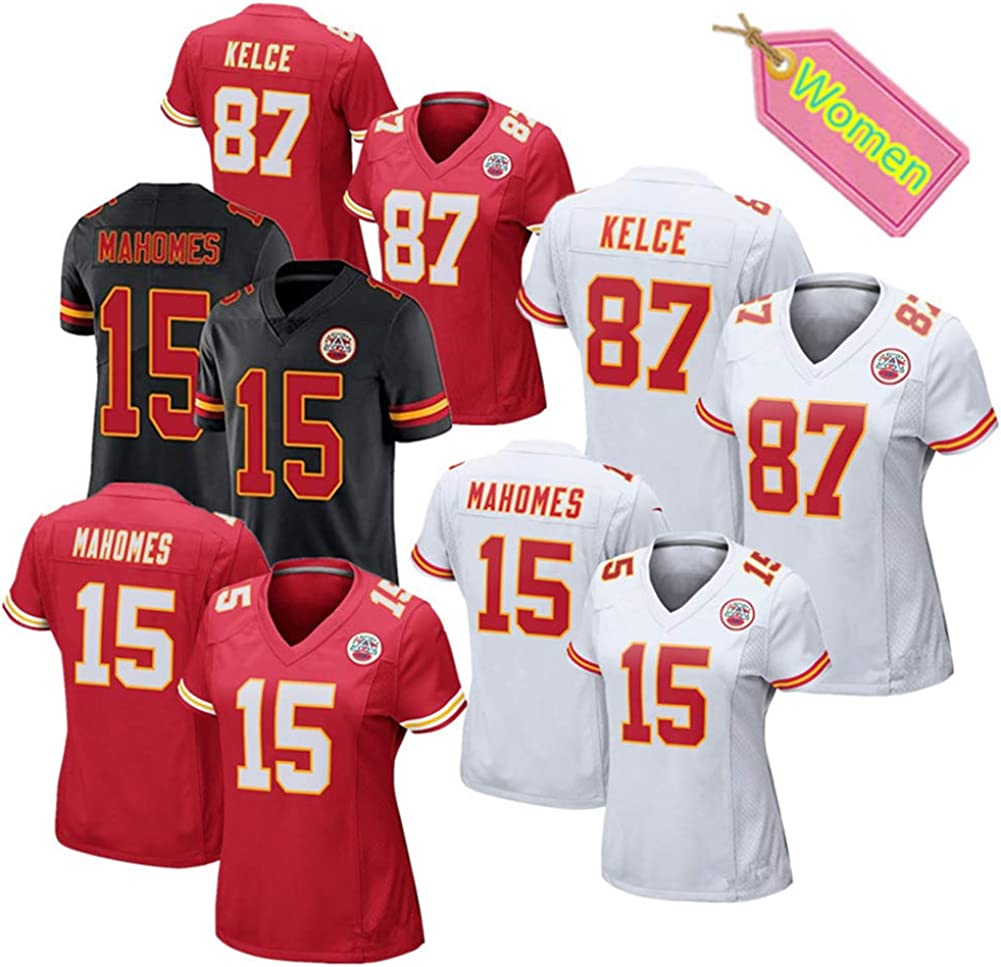Patrick Mahomes # 15 M/ädchen American Football Trikot Top Elite Edition Kurzarm Top T-Shirt City Chiefs Frauen Rugby Trikot