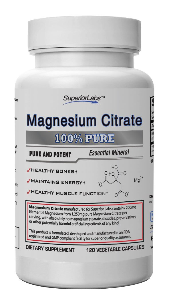 Superior Labs Magnesium Citrate - 100% NonGMO Safe From Additives, Stearates, Gluten and