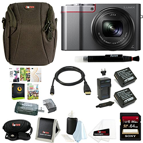 Panasonic Lumix DMC-ZS100 Digital Camera (Silver) Bundle (64GB Deluxe Kit) by Focus Camera