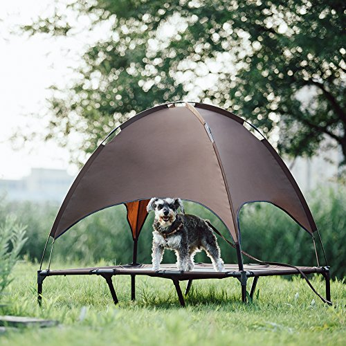 SUPERJARE XLarge Outdoor Dog Bed, Elevated Pet Cot with Canopy, Portable for Camping or Beach, Durable 1680D Oxford Fabric, Extra Carrying Bag - Brown