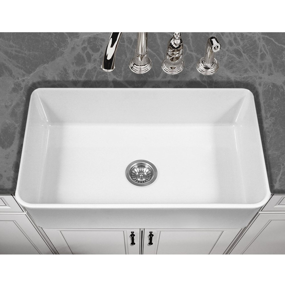 Houzer PTG-4300 WH Platus Series Apron-Front Fireclay Single Bowl Kitchen Sink, 33'', White by HOUZER (Image #2)