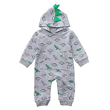 a025056c96c9 Amazon.com  Newborn Baby Boys Girls Dinosaur Hooded Romper Long ...