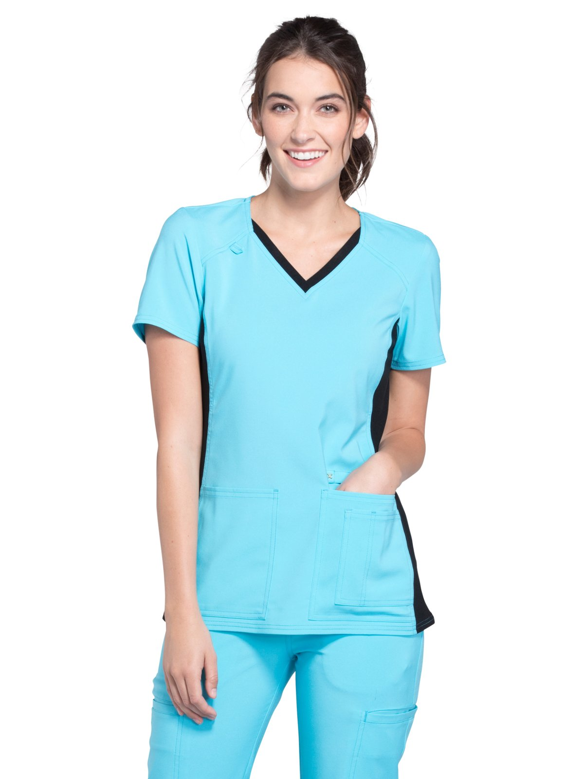 Cherokee Iflex Women's V-Neck Knit Panel Solid Scrub Top Large Turquoise with Black Contrast