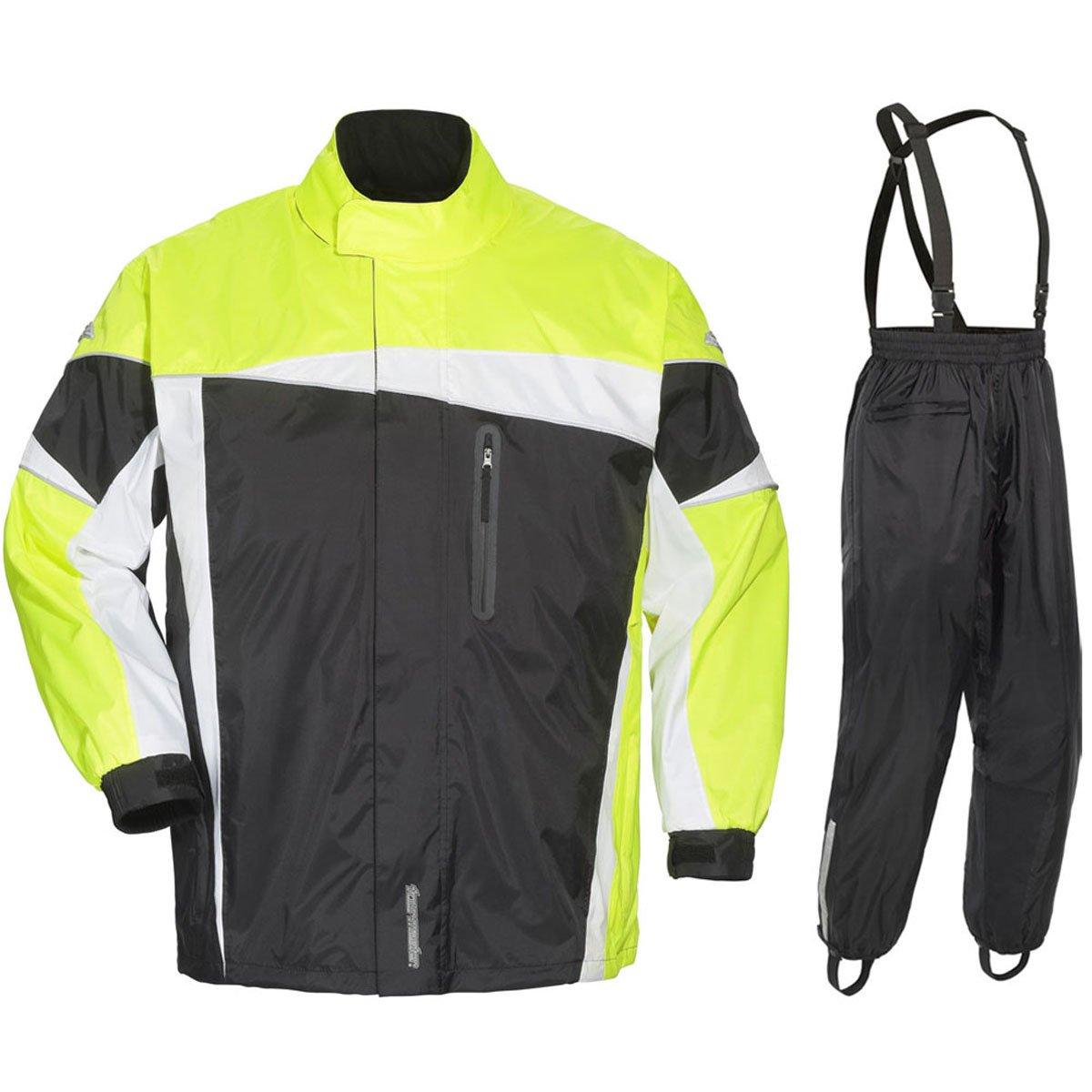 Tour Master Defender 2.0 Mens 2-Piece Street Bike Racing Motorcycle Rain Suit - Black/Hi-Viz/X-Large