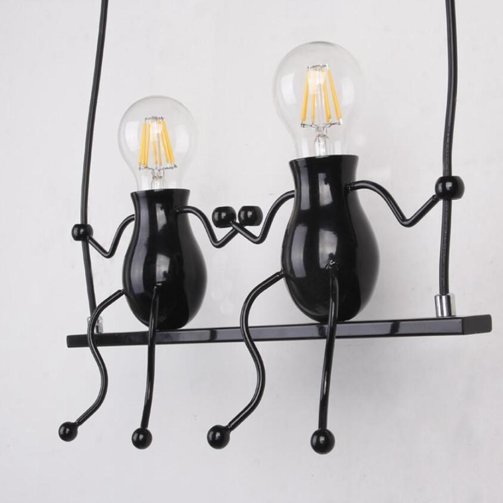JIN Wall Lamp Creative Personality Modern Art E27 Living Room Bedroom Children Bedside Lamp , Black , Double Head
