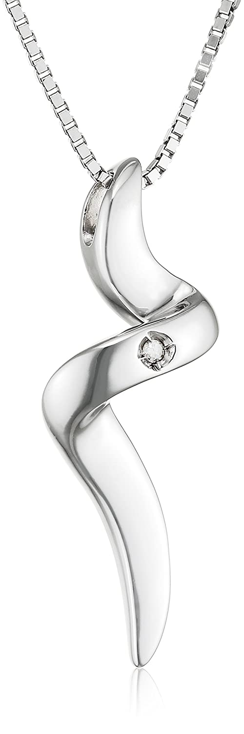 Hot Diamonds Diamond and Silver Spiral Pendant with Sterling Silver Box Chain of Length 40+5 cm Extender u4E0x