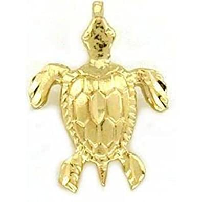 Amazoncom 14K Gold Sea Turtle Charm Nautical Ocean Jewelry 13mm
