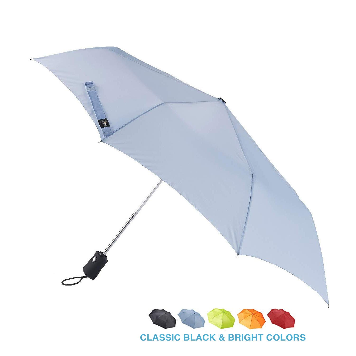 Lewis N. Clark Travel Umbrella: Windproof & Water Repellent with Mildew Resistant Fabric, Automatic Open Close & 1 Year Warranty, Blue
