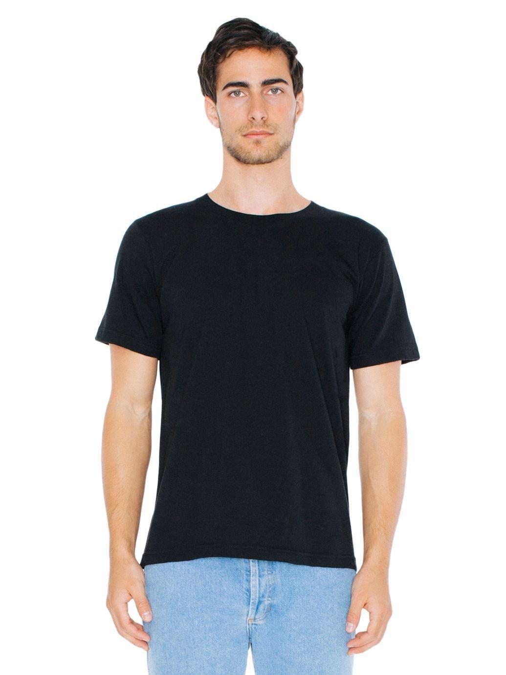 American Apparel Unisex Fine Jersey Short Sleeve T-Shirt, Black, Large
