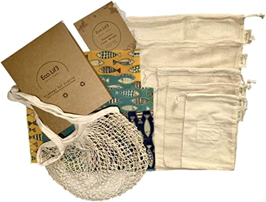 Beeswax Wrap Kit | 4 Envoltura de Cera de Abejas (1 Small, 2Medium, 1Large), + 6 Bolsas de Malla Reutilizables (2S, 1M, 1L, 1XL, 1 Shopping Bag)  | Zero Waste Kit, Regalo ecologico: Amazon.es: Hogar