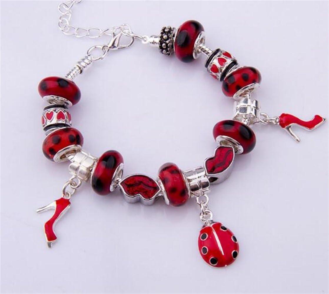 Bracelet personnalis/é Coccinelle Bracelet talons Bracelet bricolage perl/é Bracelet rouge
