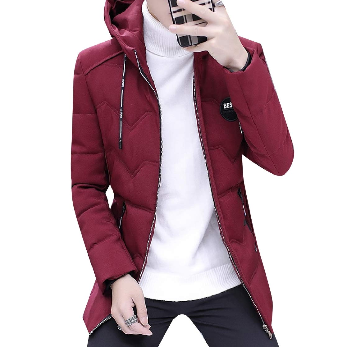 YUNY Mens Solid-Colored Leisure Warm Thick Oversize Down Jacket 9 S