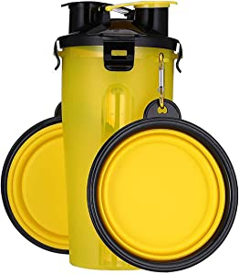 Dog Water and Food Portable Bottle with 2 Collapsible Bowl Food Container Reversible and Lightweight for Walking Outgoing Hiking Traveling Food-Grade PP Material(Water 350ml + Food 255g)