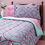 Purple and Teal Twin Bedding 8 Piece Girls Hippie Comforter Twin Set, Multi Floral Bohemian Bedding, Teal Blue Purple Pink Floral Prints, Indie Inspired Hippy Spirit, Damask Flowers, Geometric Accents, Beautiful Pattern, Vibrant
