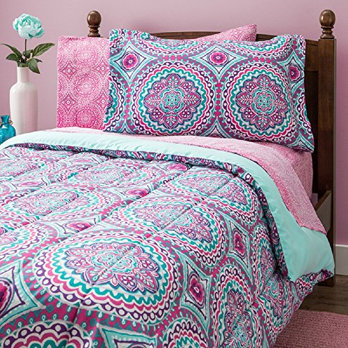 Damask Full Comforter Set (11 Piece Girls Hippie Comforter Full Set, Multi Floral Bohemian Bedding, Teal Blue Purple Pink Floral Prints, Indie Inspired Hippy Spirit, Damask Flowers, Geometric Accents, Beautiful Pattern, Vibrant)